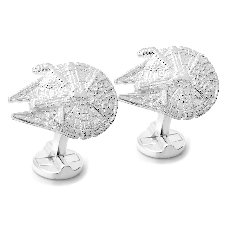 Bo/îte Cadeau Boutons de Manchette Star Wars Millennium Falcon Faucon Mill/énaire Argent 3D avec le logo de la R/ésistance