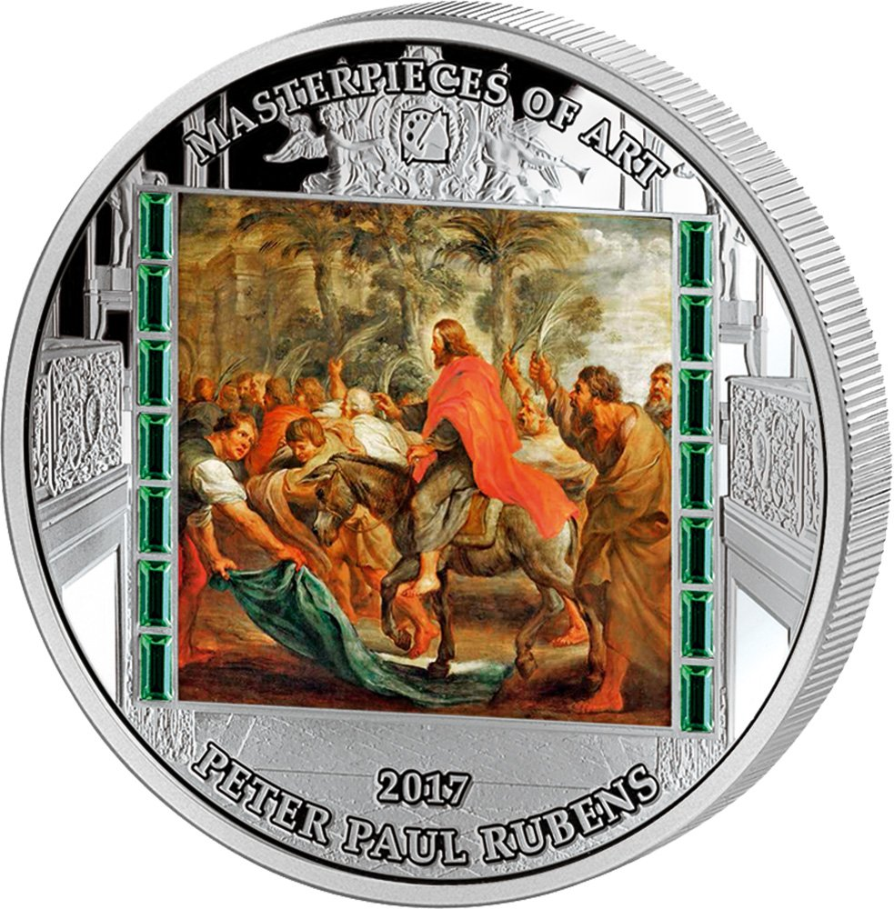 Christ Entry INTO Jerusalem Masterpieces of Art Peter Paul Rubens Easter Edition 3 Oz Silber Münze 20  Cook Islands 2017
