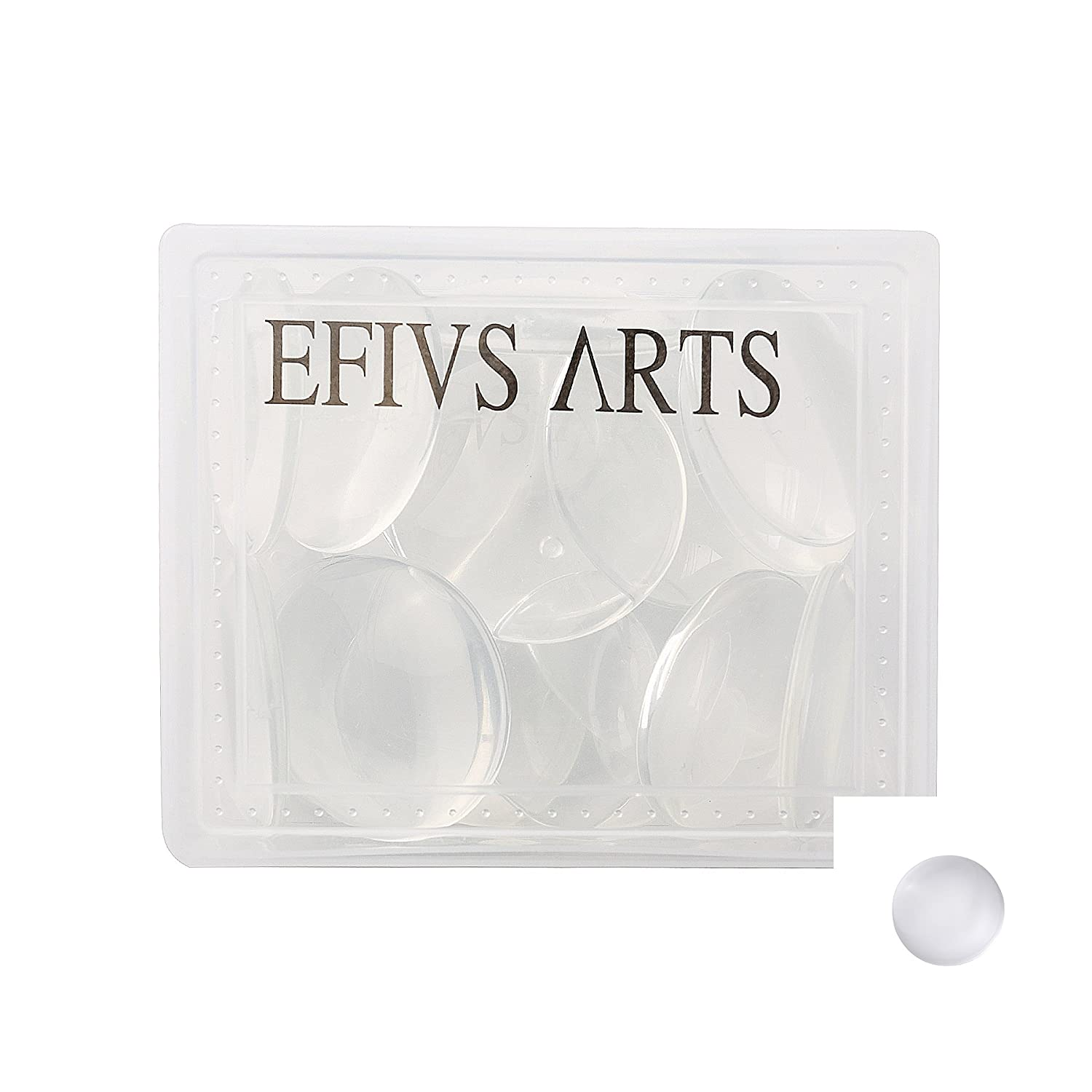 Efivs Arts 20 pcs Clear Glass Dome Tile Cabochon Half Round Flat Clear 1.57 inch (40mm) Non-calibrated Round For Photo Pendant Craft Jewelry Making 4336824018