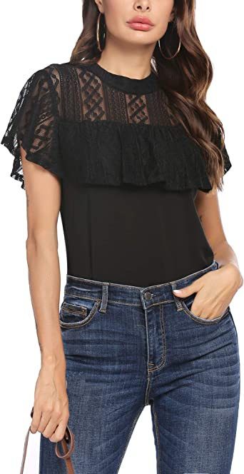 Unibelle - Blusa de gasa para mujer, cuello redondo, camiseta suelta, parte superior de malla con volantes, tallas S-XXL