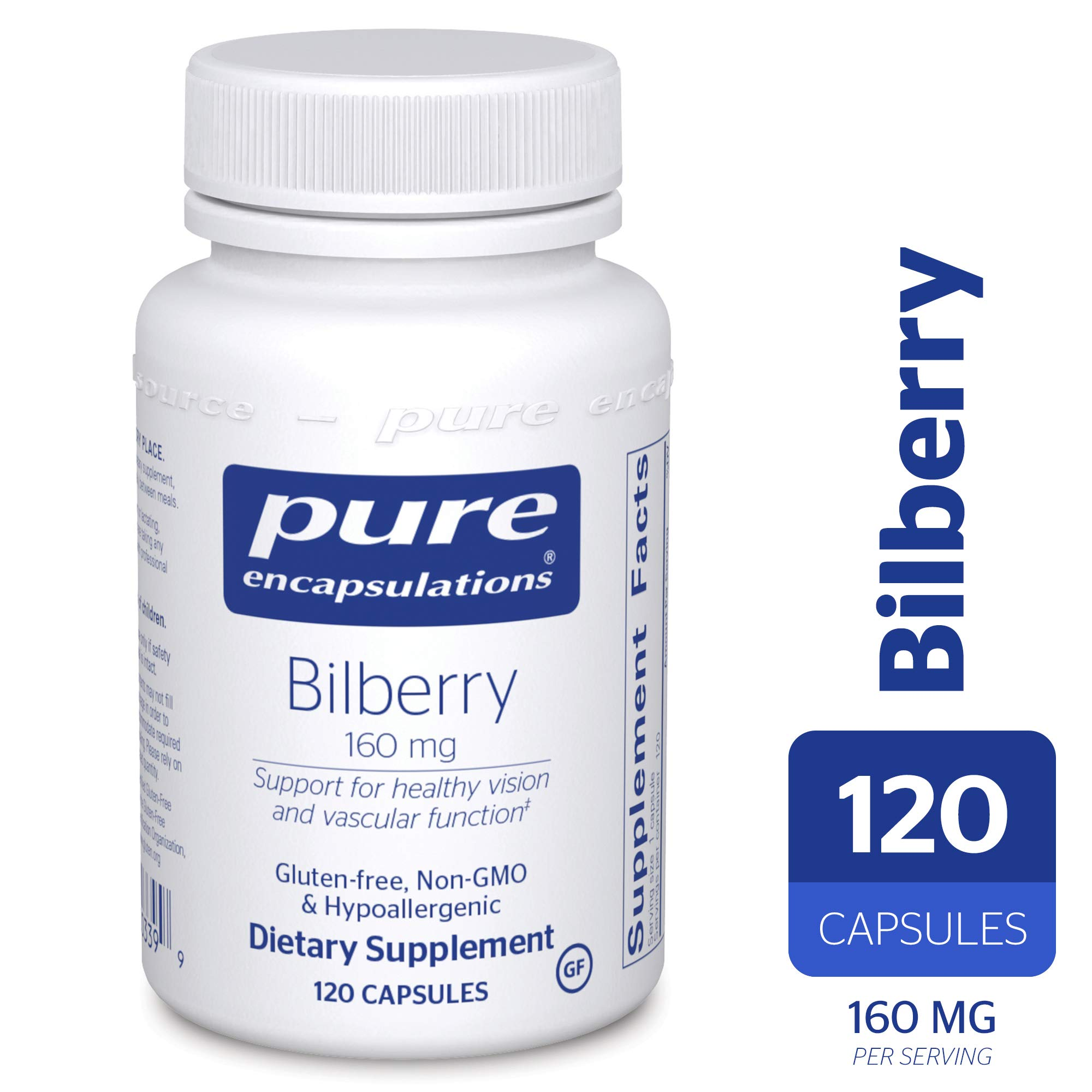 Pure Encapsulations - Bilberry 160 mg - Hypoallergenic Dietary Supplement to Promote Healthy Vision* - 120 Capsules