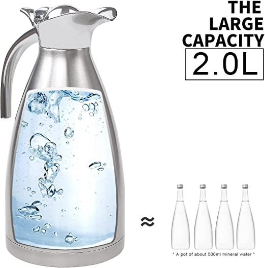 Insulated Jug Argent, 1.5L Acier Inoxydable Disolation Caf/é Inox Cruche Pichet Isotherme Cafeti/ère Isotherme Thermal Jug by feierna
