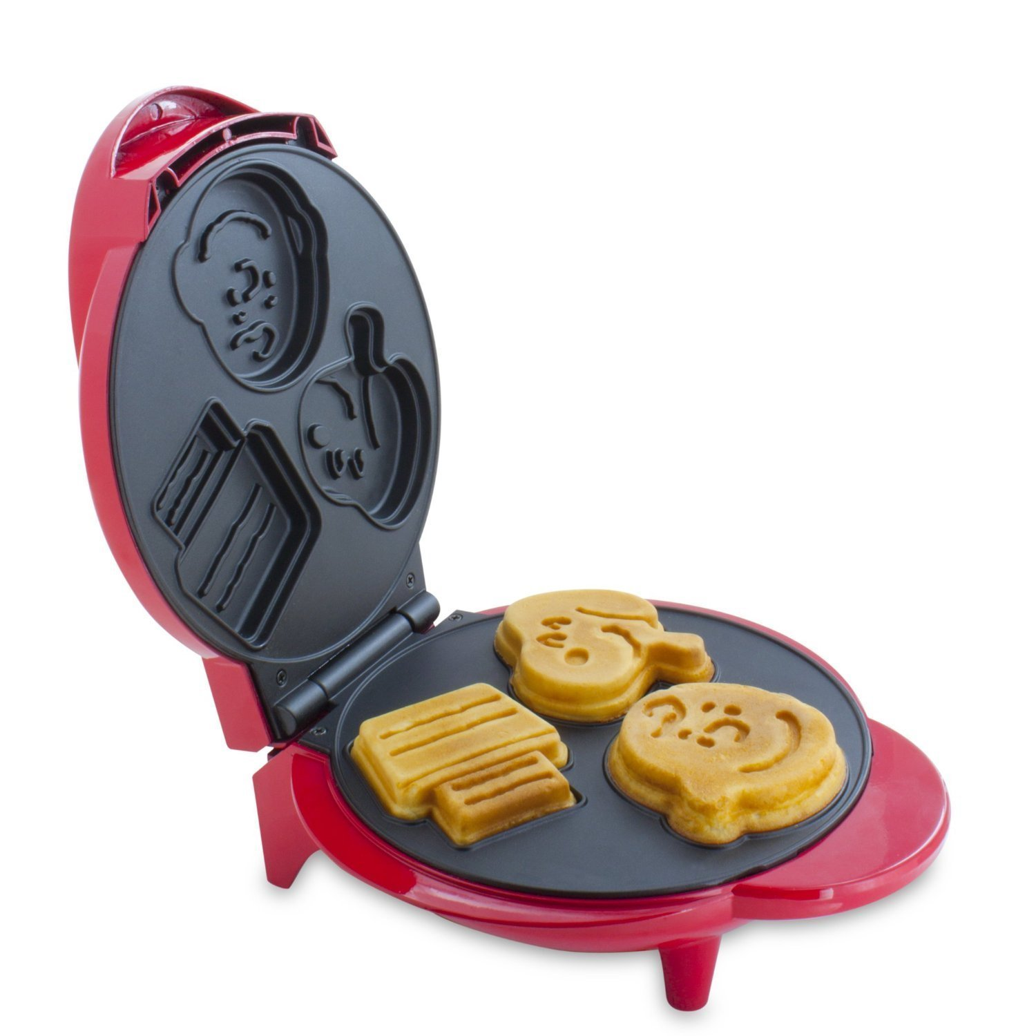 Smart Planet WM 6S Peanuts Snoopy and Charlie Brown Waffle Maker, Red