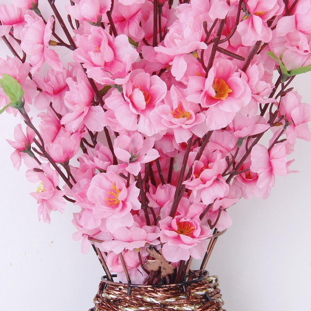 Artificial Spring Peach Blossom Cherry Plum Bouquet Branch Silk