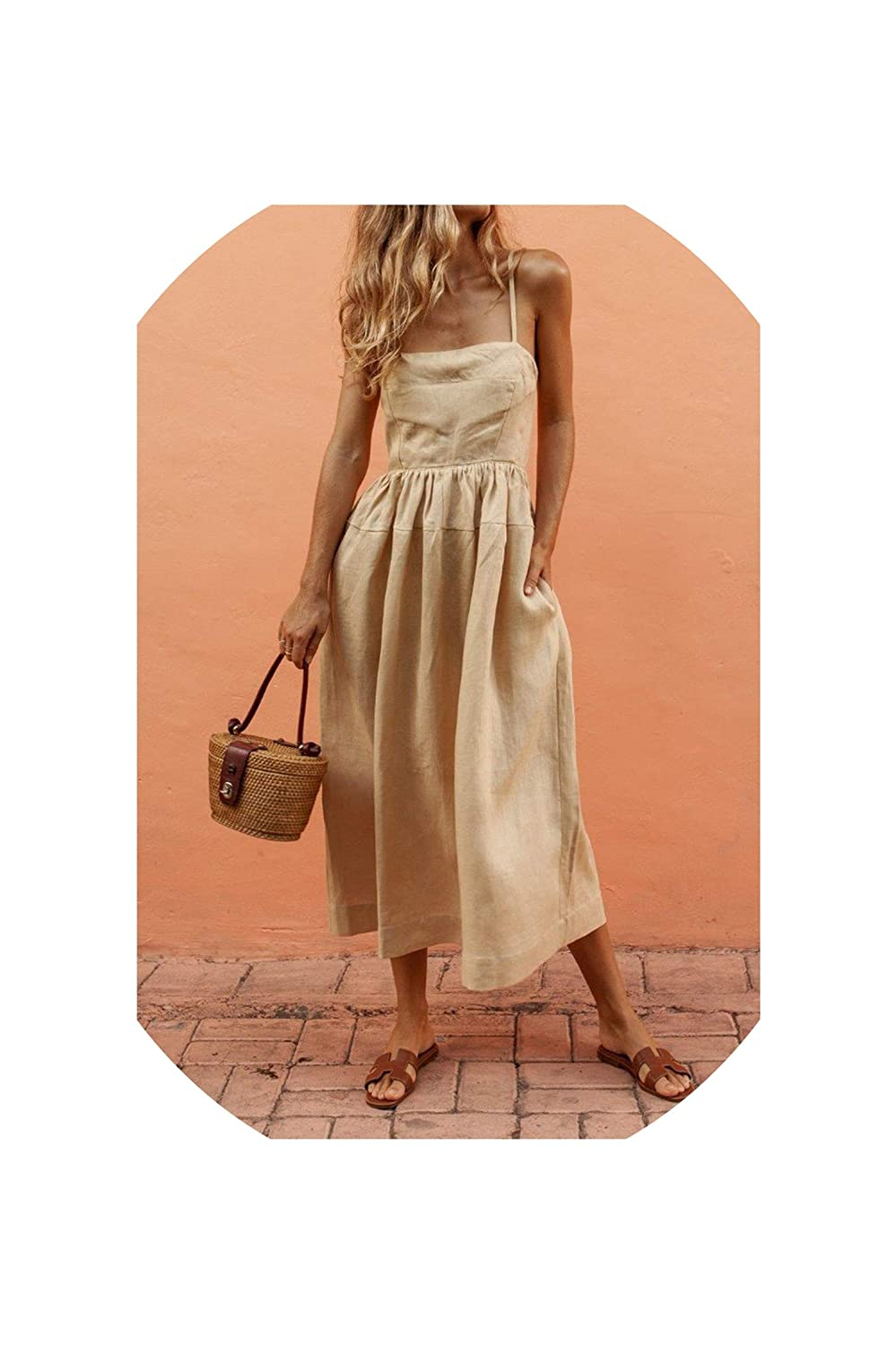 Khaki Maxi Beach Dress Women Strap Backless Pleated Casual Dresses Sleeveless Pockets Tunic Long Dress