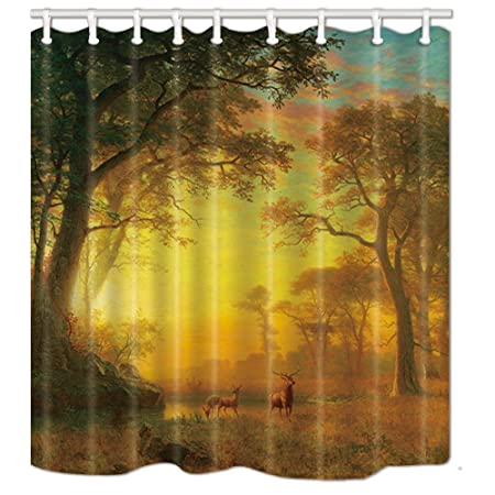 NYMB Autumn Fall Forest Scene With Deer Shower Curtains In Bath Mildew Resistant Fabric