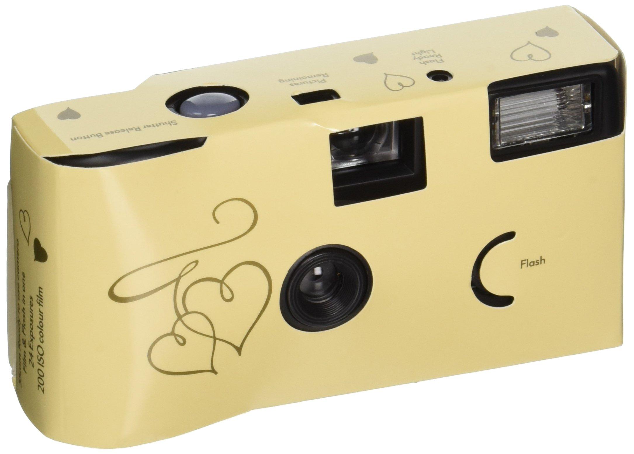 Enchanted Hearts Ivory and Gold Single Use Camera by Weddingstar Inc.