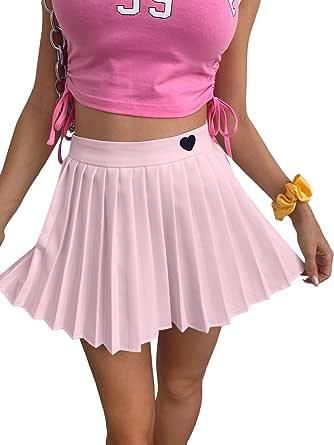 Verdusa Women's High Waist Heart Embroidery A Line Mini Pleated Skirt