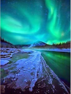 Diymood Painting Acrylic Paint by Number Kits for Students Beginner, DIY Green Lake Aurora Oil Painting Drawing Wall Home Decor 16x20inch
