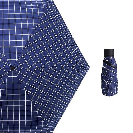 Ai-life Ultra Mini Paraguas Plegable De Viaje(patrón de cadrícula), Compacto