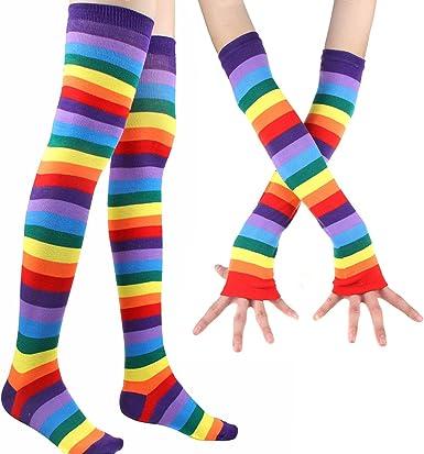 Gloves NAVAdeal Colorful Rainbow Stripe Knit Stocking Halloween Costume Set