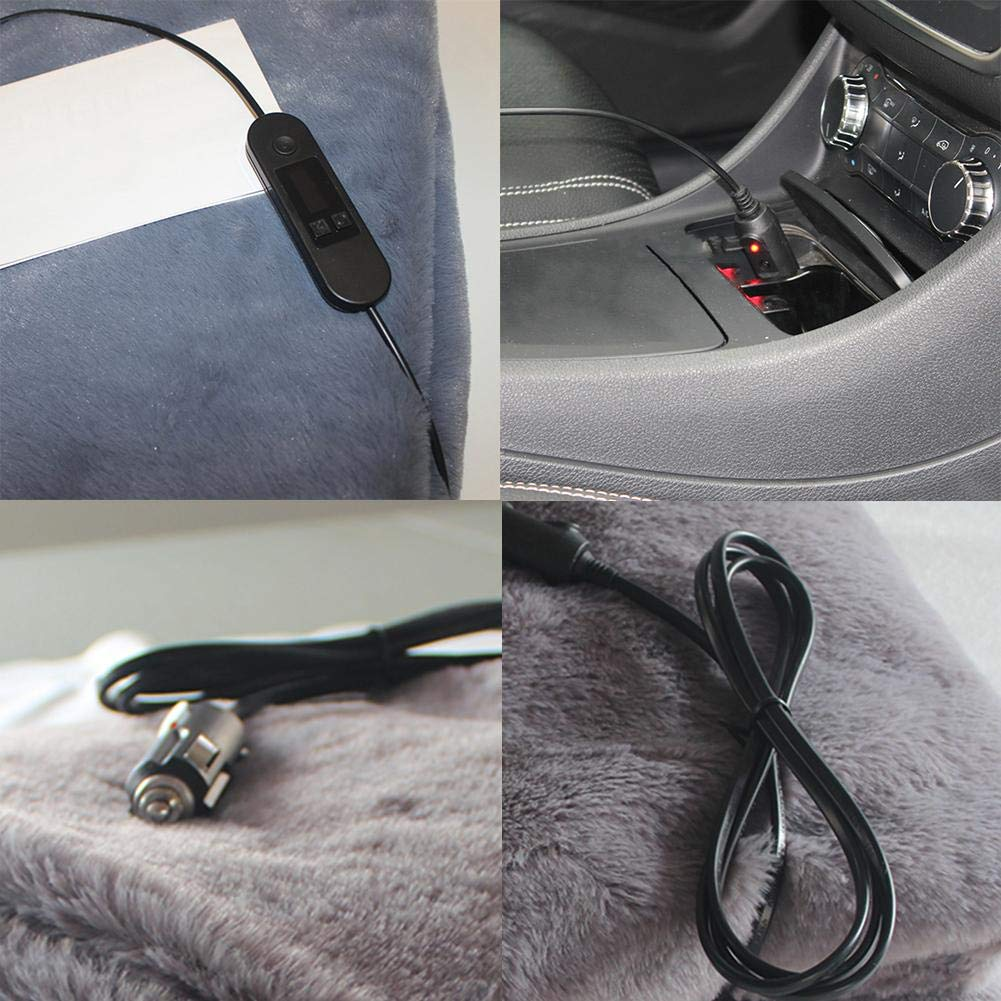 Summeishop 12V Car Electric Heating Blanket Car Electric Warm Blanket Safety Low Voltage Warm Velvet Heating Blanket for Car Truck RV Traveling Cold Weather