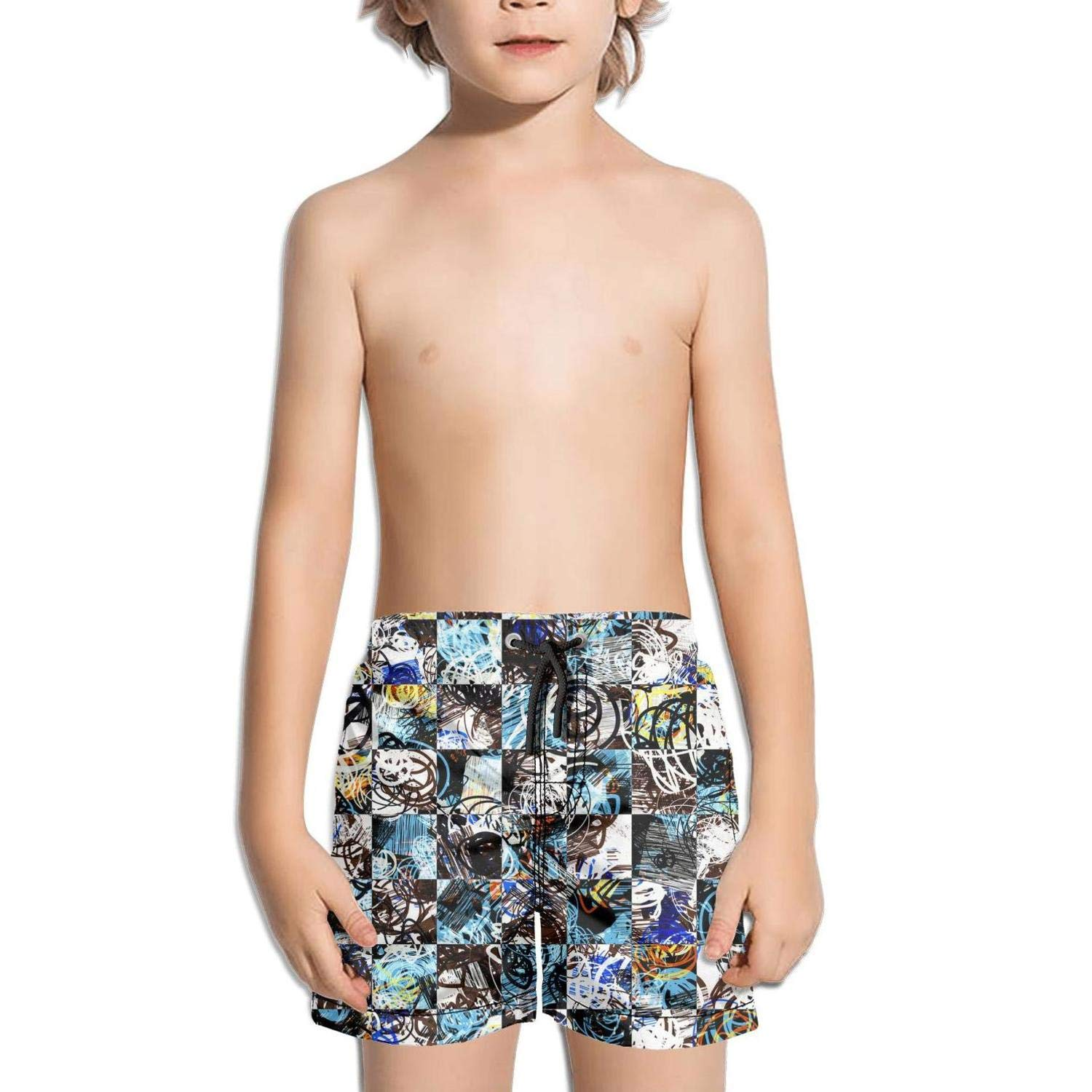 Ouxioaz Boys Swim Trunk Checkerboard Like Texture Shattered Stars Beach Board Shorts