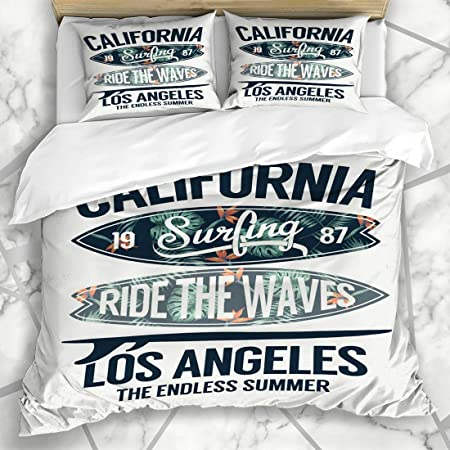 Haniluc Literie Housse De Couette Angeles Tropical California Etiquette De Surf Los Surfing Vintage Graphic Beach Badge Texte Conception Ocean Microfibre Trois Pieces 140 200cm Amazon Fr Cuisine Maison
