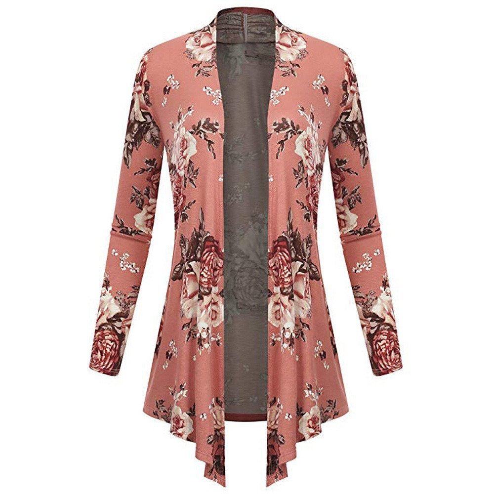 Blouse For Womens, Clearance Sale!!Farjing Women Long Sleeve Irregular Print Casual Cardigan Coat Tops Blouse(US:12/2XL,Pink)