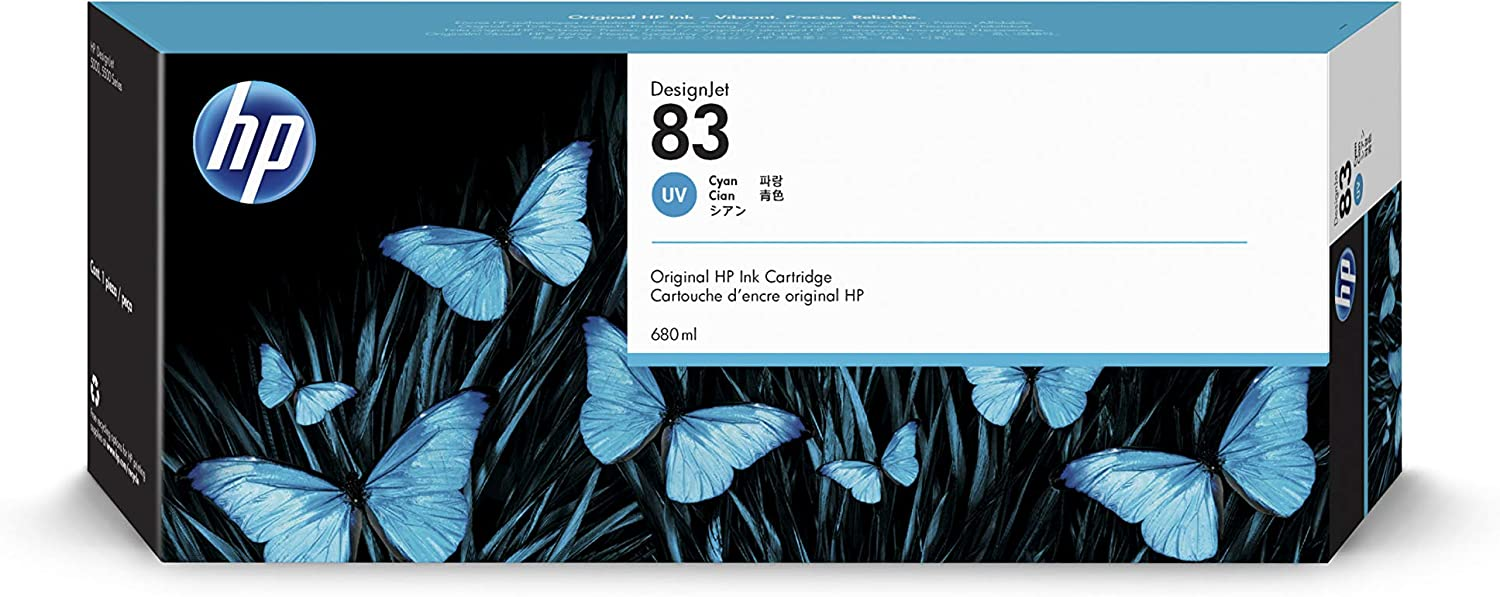 HP 83 Cyan 680-ml Genuine UV Ink Cartridge (C4941A) for DesignJet 5500 & 5000 Series Large Format Printers