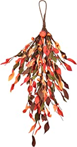 """Harvest Pumpkin Swag 25"""" Gold Ears Circle Wreath for Fall Front Door Decor"""