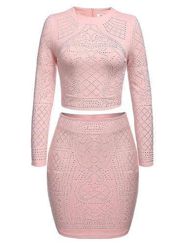 Meaneor Women Rhinestone Embellished 2 Pieces Set Crop Top Midi Skirt Dress
