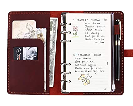 Amazon com : Genuine Leather Journal Writing Notebook, A6