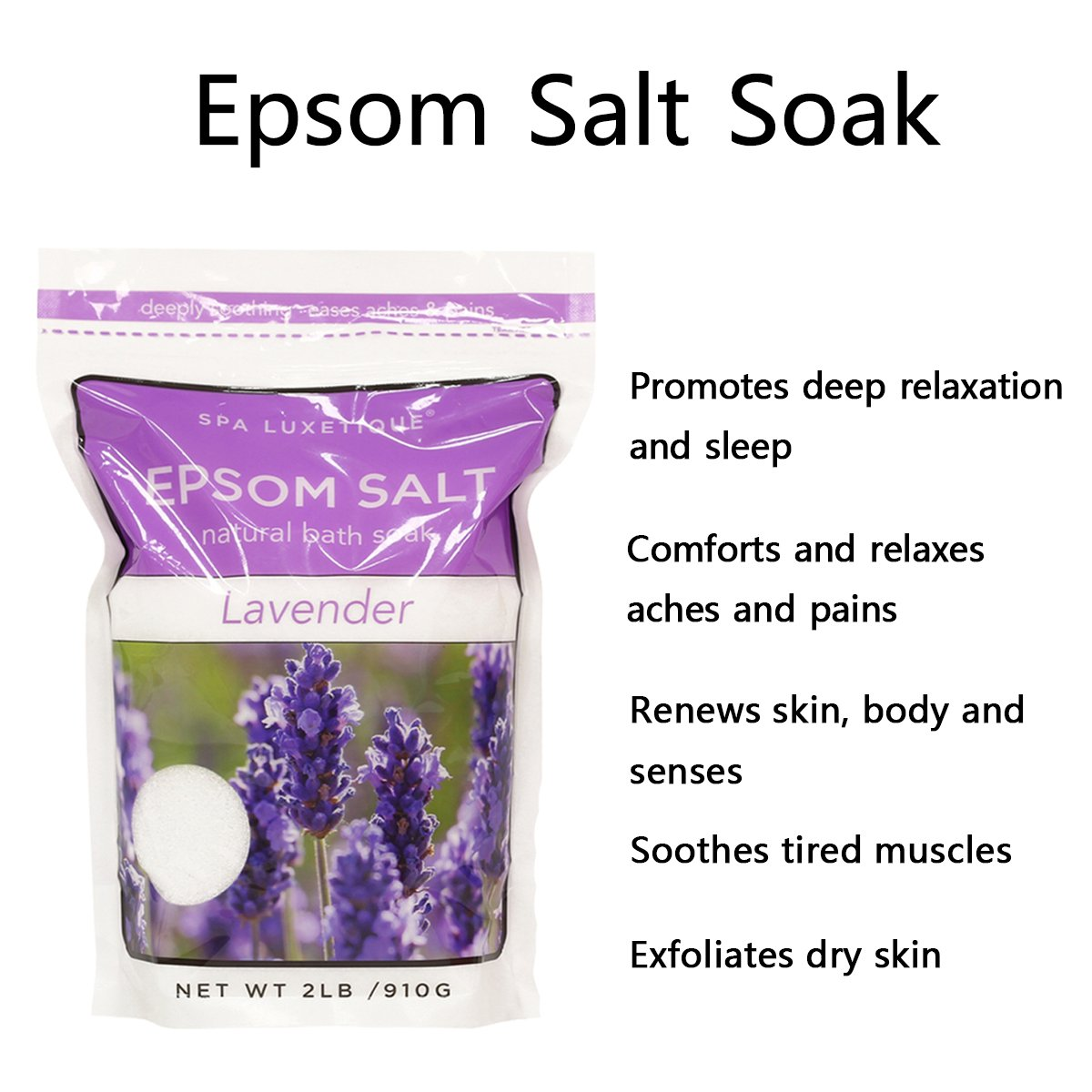 Spa Luxetique Premium Epsom Salt for Foot Soak, 2 lbs Magnesium Sulfate USP Bath Salt Formula, Sleep Well with Calming Lavender Essential Oil by spa luxetique (Image #2)