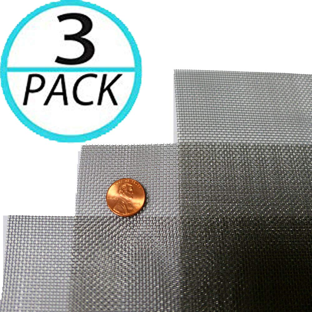 (Pack of 3) Woven Wire 20 Mesh 12''X24'' 30cm X60cm Size 0.9mm Hole 400µm Wire Diameter Medium, Gauze Stainless Steel 304L 52% Open Area by YIKAI