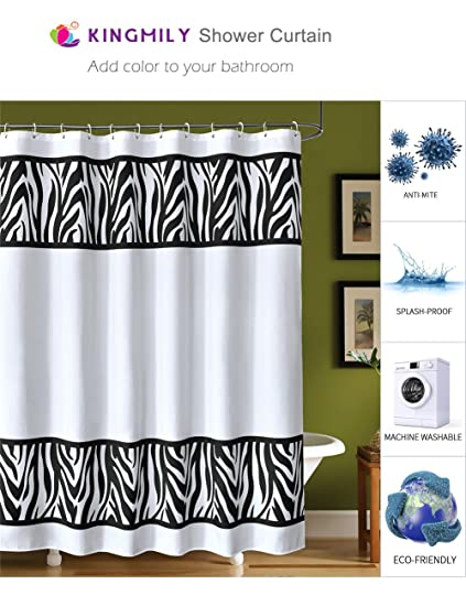 Kingmily Fabric Shower Curtain Leopard Print White Black 72 By