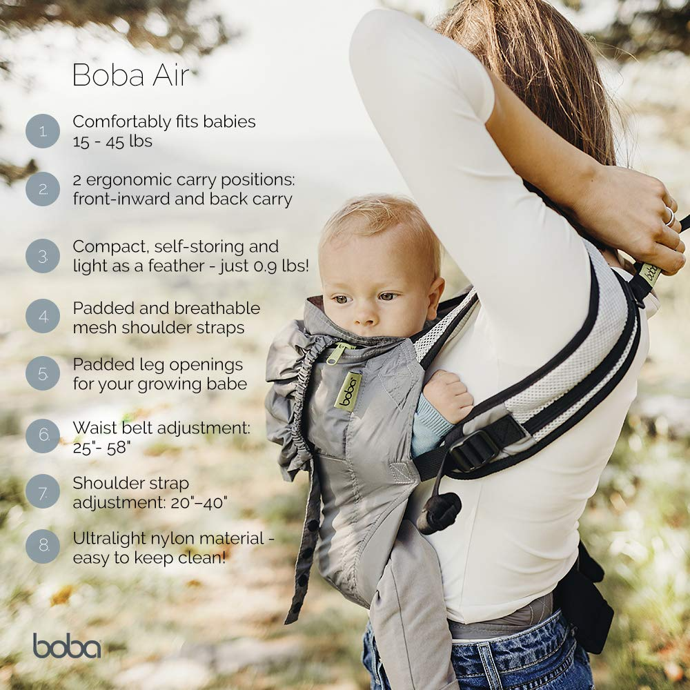 d7da16dc1bd Boba Air light weight baby and toddler carrier - easy to store - back and  front carrier - black  Amazon.co.uk  Baby