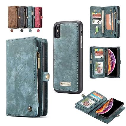 f6222b8ece43 Amazon.com: NEW CASEME For Apple iPhone XS MAX 2-in-1 14 Slots ...