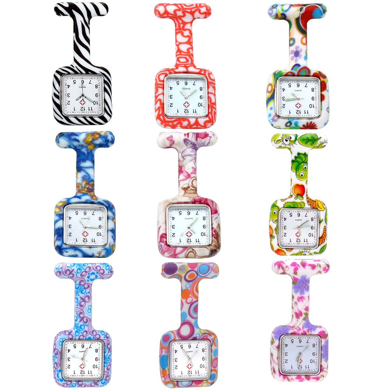 Top Plaza 9 PCs Silicone Fob Pocket Nurse Analog Quartz Watches Set - Floral Square Jelly Clip on Brooch by Top Plaza (Image #2)