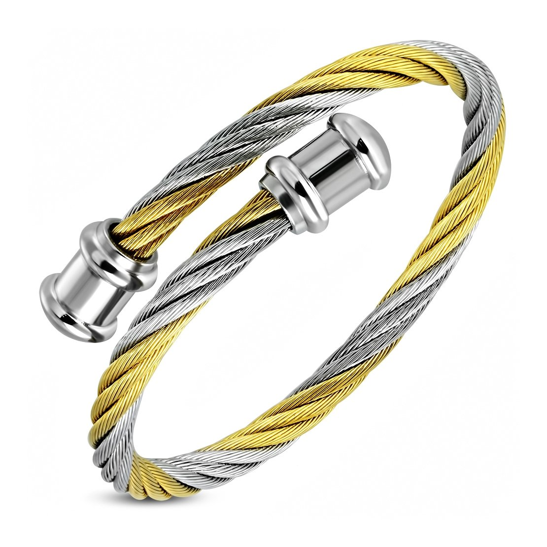 8.8 Stainless Steel 2 Color Celtic Twisted Wire Cable Tube Torc Cuff Bangle Length