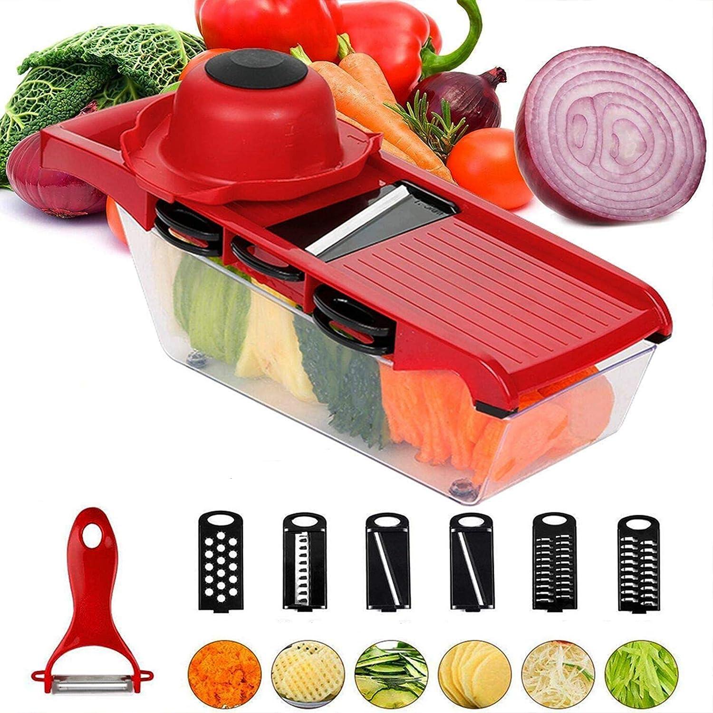 6In1 Slicer Mandoline Slicer Vegetable Cutter Potato Onion Carrot Grater Chopper