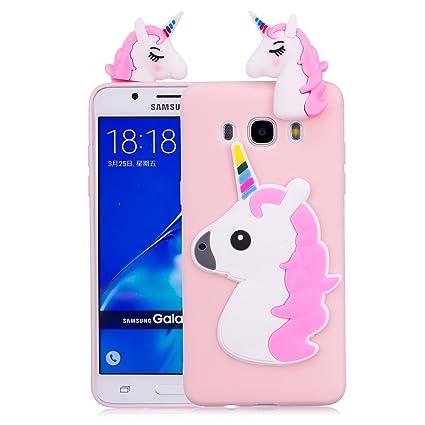 Funluna Funda Samsung Galaxy J7 2016, 3D Unicornio Silicona Dibujo Animado Suave Case Cover Protección Cáscara Soft Gel TPU Carcasa para Samsung ...