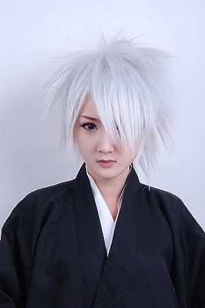 recta de plata blanco de cola de pelo ShortCurly cosplay peluca de ...