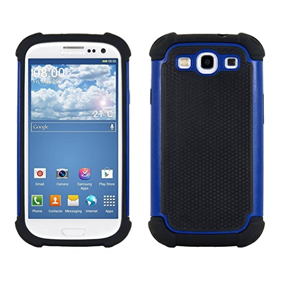 best website 32cac 0aba2 kwmobile Full Armor Case for Samsung Galaxy S3 / S3 Neo - Heavy Duty  Shockproof Protective Hybrid Case Cover - Blue/Black