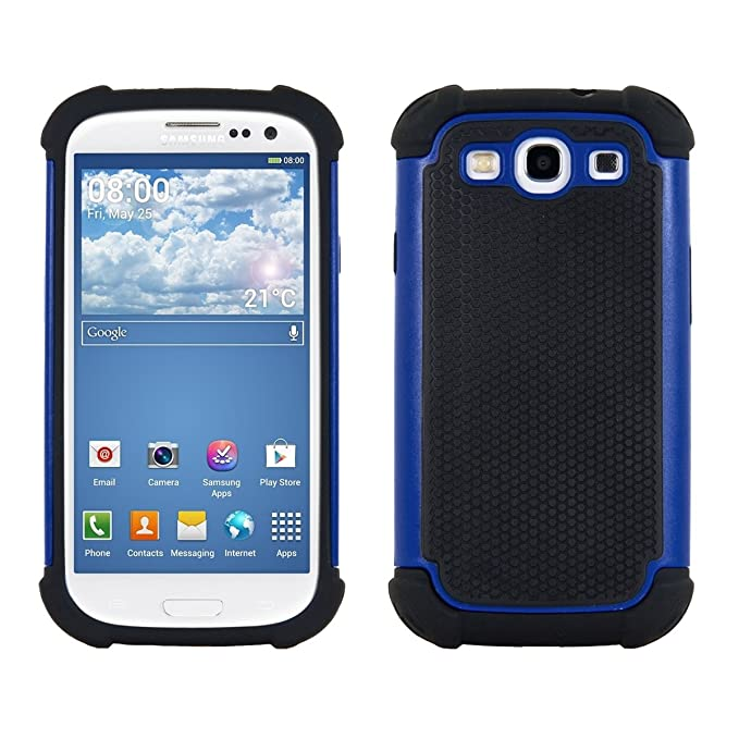best website 88b7a cf5e2 kwmobile Full Armor Case for Samsung Galaxy S3 / S3 Neo - Heavy Duty  Shockproof Protective Hybrid Case Cover - Blue/Black