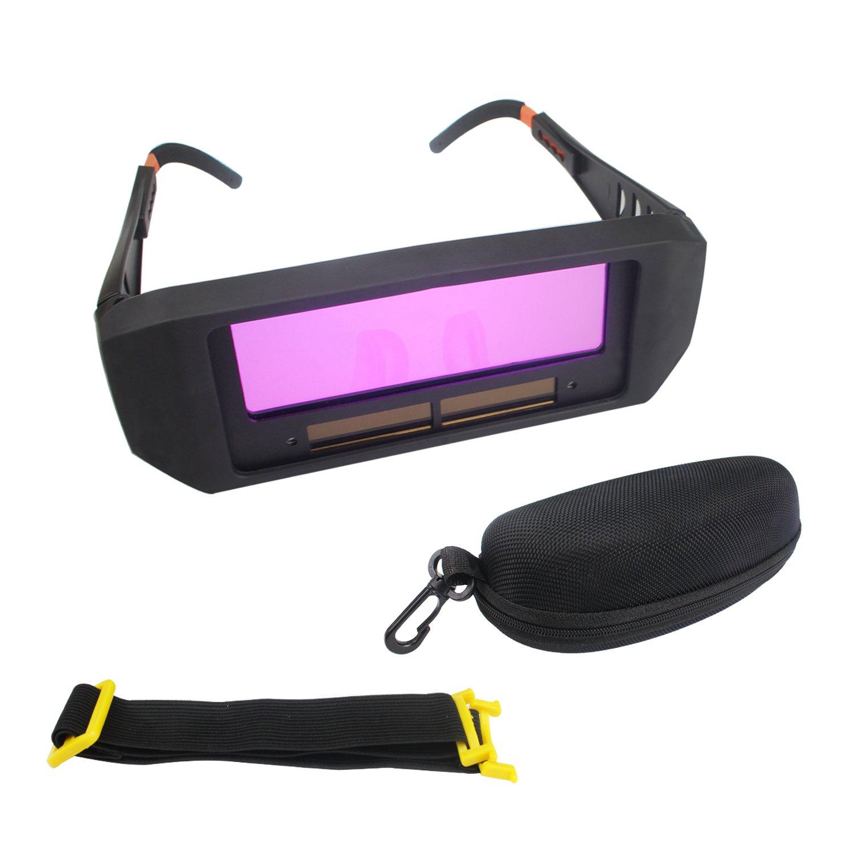 WeiMeet Solar Auto Darkening Welding Goggles Welding Helmet Eyes Protector Welder Cap Goggles Machine Cutter Soldering Mask Filter Lens Tools Anti-Flog Anti-glare (1Pair,Black)