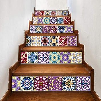 Stairs Stickers Bunte Fliesen Kreative Heim Treppe Aufkleber
