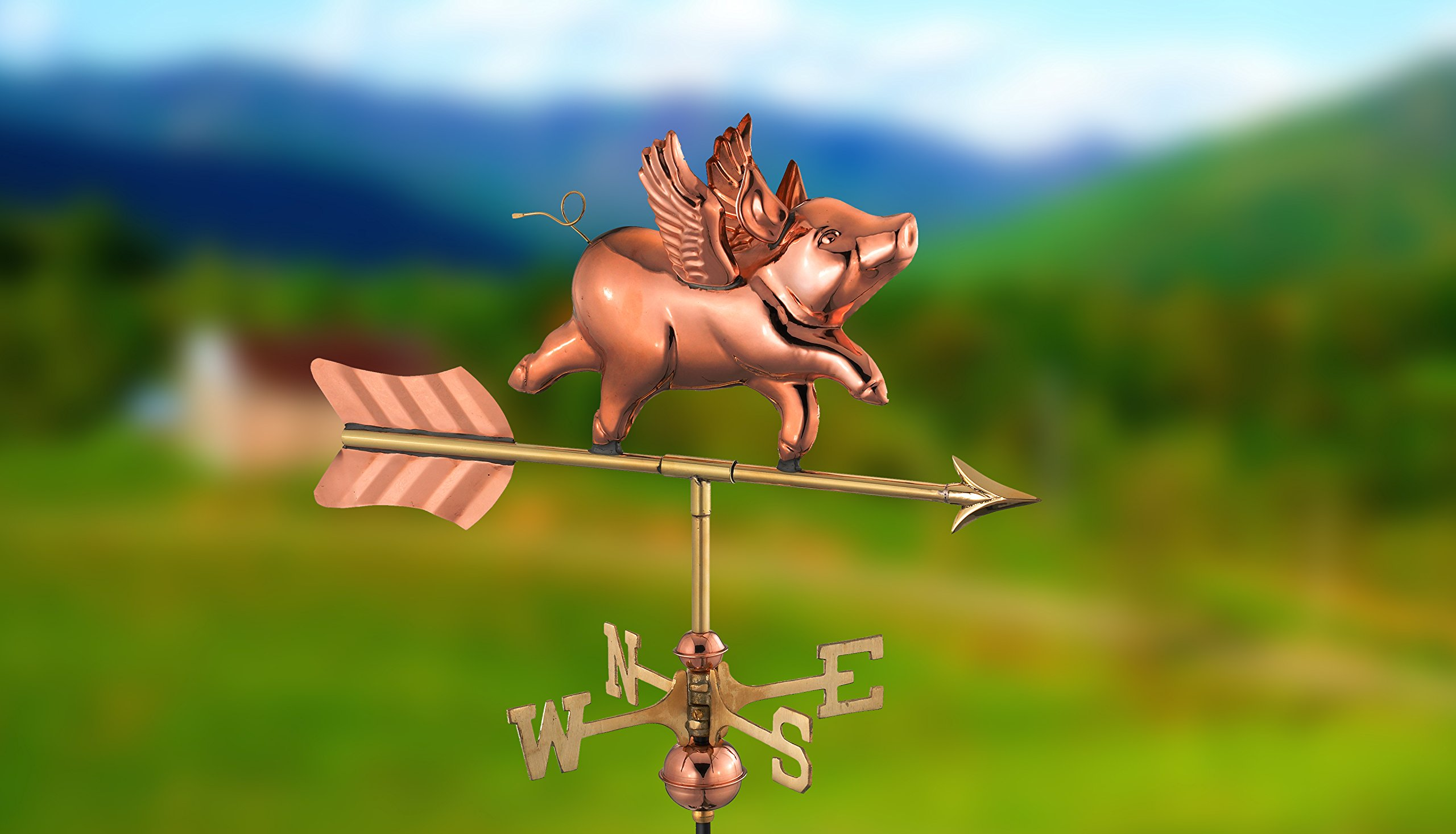 Good Directions 8840PR Flying Pig Cottage Weathervane, Polished Copper with Roof Mount by Good Directions (Image #3)