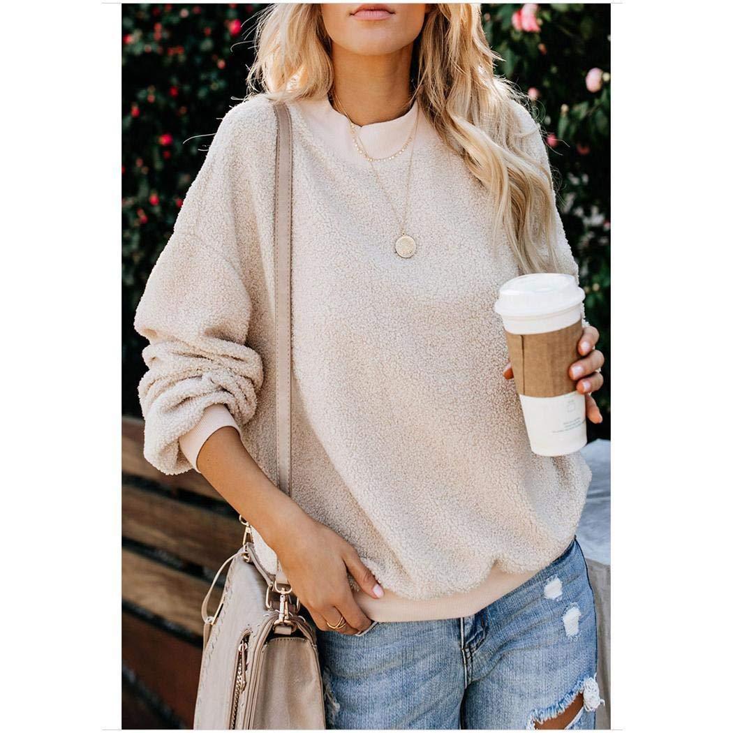 Kindes Women Casual O-Neck Long Sleeve Solid Pullover Sweatshirt Fashion Sweatshirts