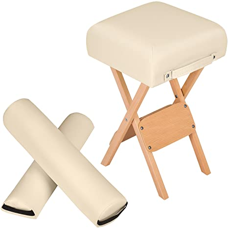 TecTake Taburete + cojín semicilíndrico + cojín cilíndrico para camilla de masaje - disponible en diferentes colores - (Beige | no. 400430)