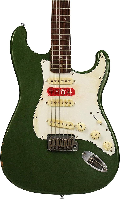 Guitarra eléctrica HK verde china 10s ICC Olive Mash: Amazon.es ...