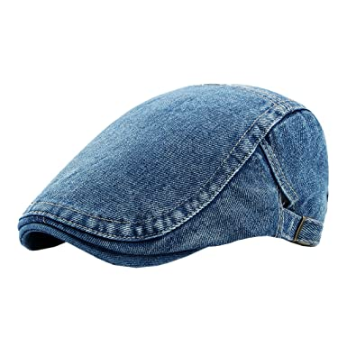 d809d6f197e XueXian(TM) Men s Cotton Flat Cap Newsboy Ivy Cabbie Driving Hat (Blue)