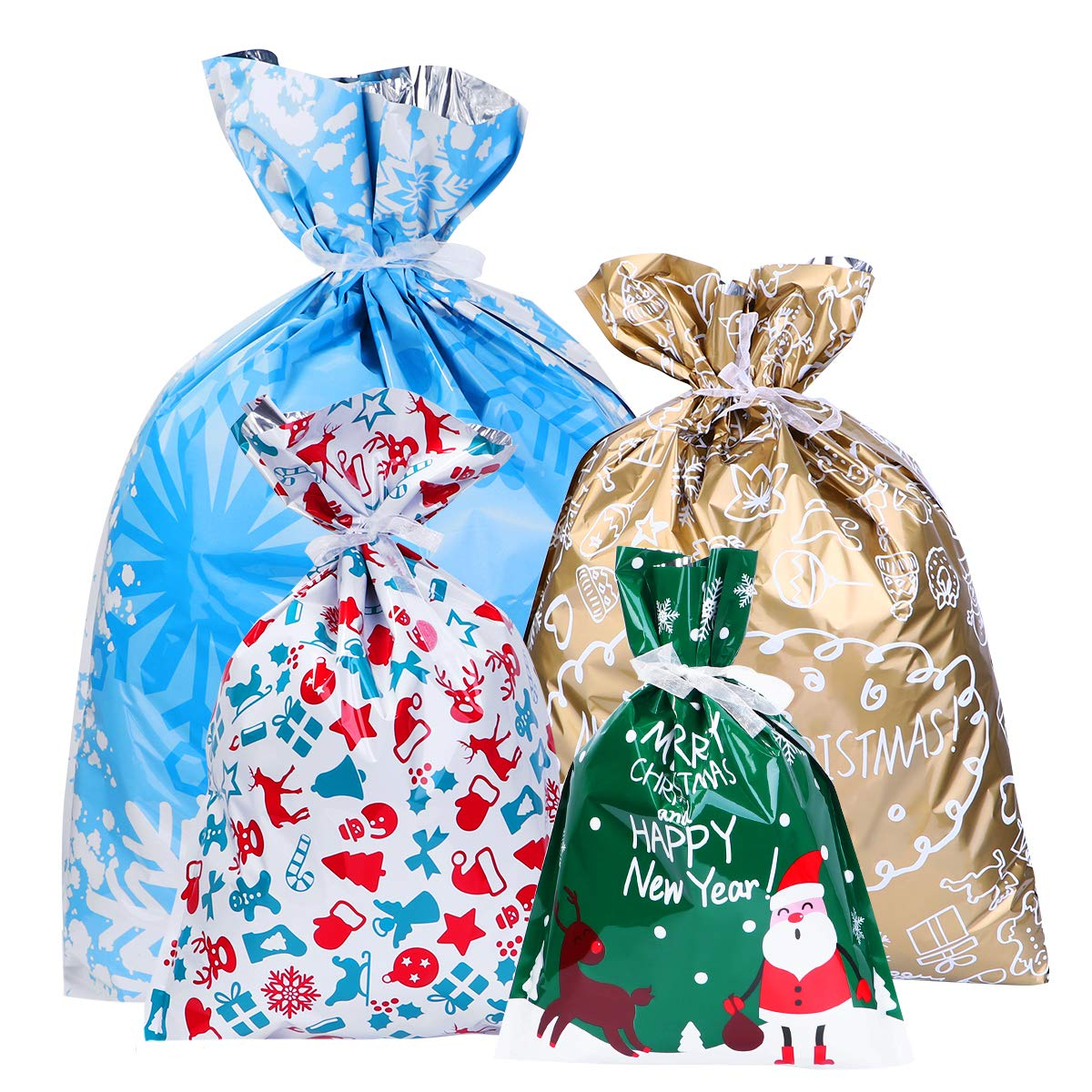 LUOEM Christmas Goody Bags Gift Bags Drawstring Gift Wrapping Bags Aluminum Foil Gift Bag Set Assorted Styles for The Holiday 30PCS