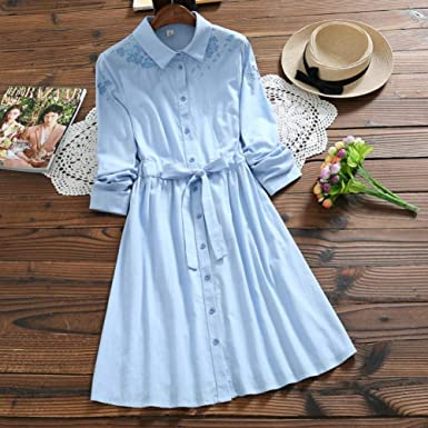 Wujiaba Vestido de la Camisa de Kawaii del algodón del Lino ...