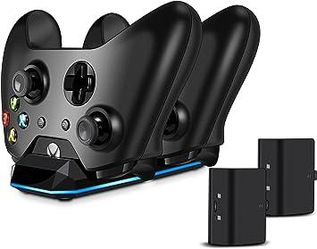 Xbox One batería (2 unidades) y controlador carga Set, Real Power Cargador y wiederaufladebare batería para Xbox One/Slim/Elite Wireless Controller, carga rápida, Capacidad de baterías de repuesto 1100 mAh: Amazon.es: Electrónica