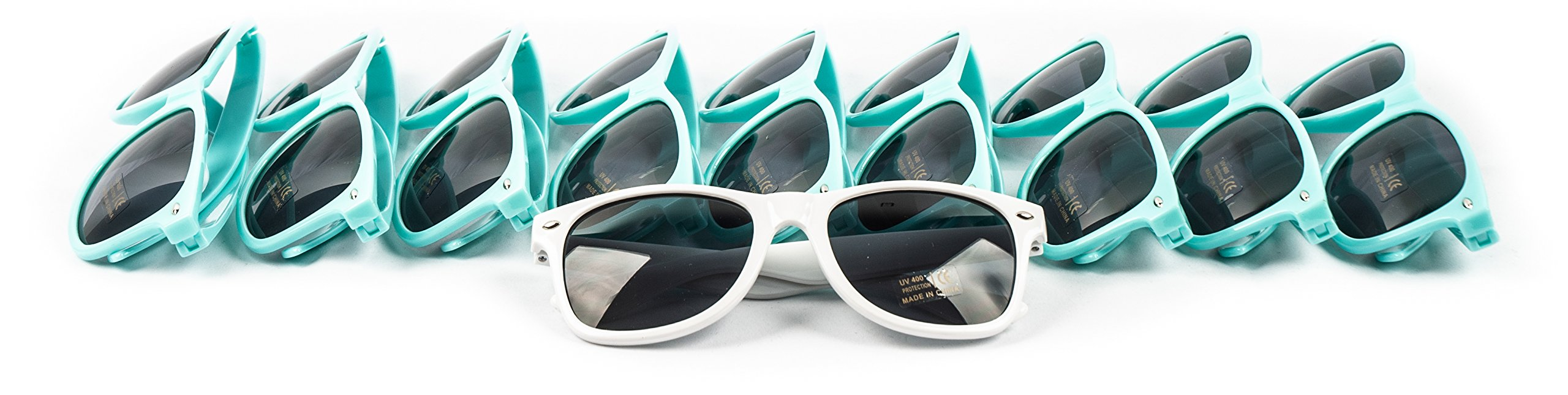 10 Piece Set of Bride Tribe and Bride Sunglasses, Perfect for Bachelorette Parties, Weddings, and Showers! (Turquoise)