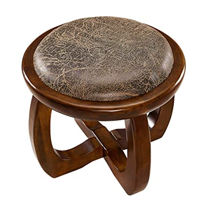 Vintage Leather Small Circular Pouffee Benches & Stools