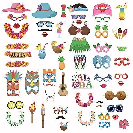 60pcs Photo Booth Props kit Fotocabina prop tarjeta gafas sombreros piña bebidas flor banda patrón decoración Accesorios de fotos para vacaciones boda ...