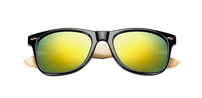 ae97145f817b Amazon.com: COOCOl Retro Wood Sunglasses Men Bamboo Sunglass Women Sport  Goggles Gold Mirror Sun Glasses Shades lunette oculo black gold mercury:  Clothing