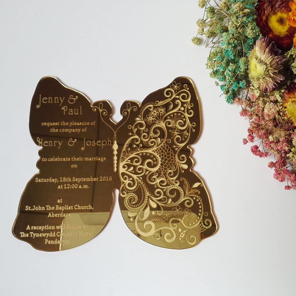 plusieurs tailles disponibles Miroir acrylique papillon à motifs